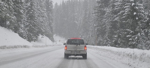 winter tires driving on a snowy road